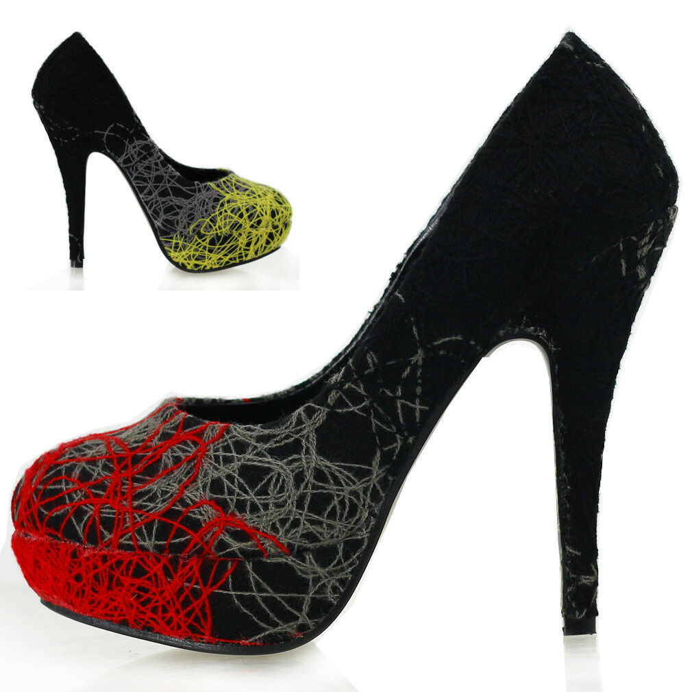 3d2b66180e108 New Trendy Abstract Lines Stiletto High Heels Platform Shoes Size  4/5/6/7/8/9/10