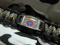 Us Army 82nd Airborne Division All American 550lb Paracord Key W/ Carabiner