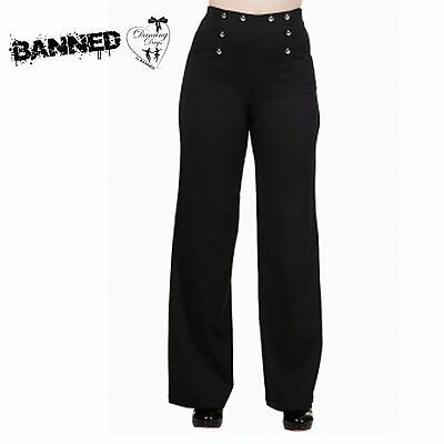 Banned stay awhile Black Wide Leg Rockabilly 40's style alternative trousers