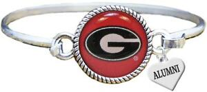 Custom-Georgia-Bulldogs-Silver-Bangle-Bracelet-Choose-Alumni-or-Family-Charm-UGA