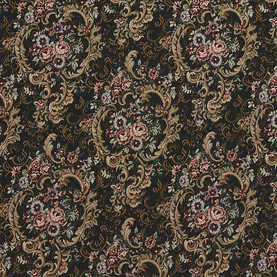 H859 Gold Burgundy And Green Floral Tapestry Upholstery Fabric By The Yard