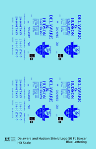 K4-HO-Decals-Delaware-and-Hudson-50-Ft-Boxcar-Blue