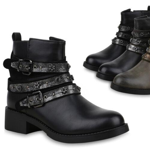 Damen Stiefeletten Biker Boots Schuhe Booties Nieten 825010 Trendy