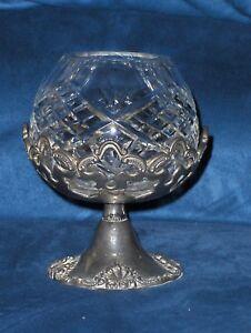 Image is loading Godinger-Crystal-Candle-Tea-Light-Burner-Bowl-Holder- & Godinger Crystal Candle Tea Light Burner Bowl Holder \u0026 Silver Plate ...