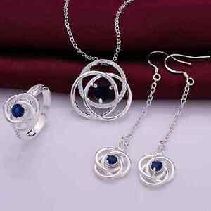 Schmuckset-Silber-925-pl-Blau-Zirkonia-Anhaenger-Kette-Ohrringe-Ring-Gr-8