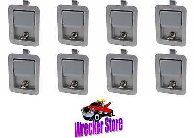 Set of 8 - PRIMER FINISH STEEL PADDLE LATCH & KEY for Tool Box, Truck Body Door