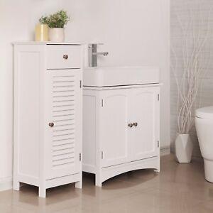 Perfect Das Bild Wird Geladen SONGMICS Waschbeckenunterschrank Badezimmerschrank  Badschrank Weiss Aufbewahrung