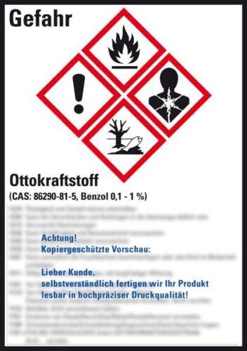 GHS-Etikett Ottokraftstoff gem.GefStoffV//GHS//CLP Folie 52x74mm 10//Bogen