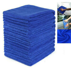 10PCS-Wholesale-Large-Blue-Microfibre-Cleaning-Car-Soft-Cloths-Wash-Towels-Kit