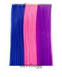 """Set of 3 Hair Extensions for 18"""" American Girl Doll Top Accessories Selection!"""