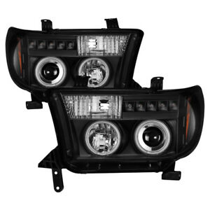 Toyota-07-13-Tundra-Sequoia-Negro-CCFL-Dual-Halo-Led-Faros-Proyectores