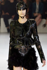 Alexander McQueen NEW S12 Black Laser-Cut Leather Lace Ruffle Jacket Coat 42IT