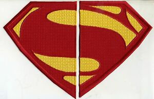 7-034-x-10-034-Large-2-PC-Embroidered-Superman-Man-of-Steel-Red-amp-Yellow-Chest-Patch