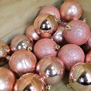Details About 24 Pack 6cm Christmas Tree Baubles 4 Mixed Designs Rose Gold Pink