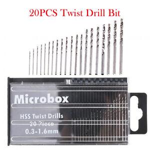 20PCS-0-3mm-1-6mm-HSS-Twist-Punte-Trapano-in-Metallo-Laminati-Strumenti-Kit