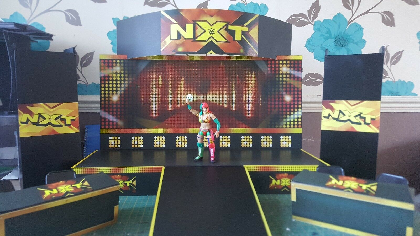 WWE NXT upgrade stage with 2 nxt announcer tables for wrestling figures