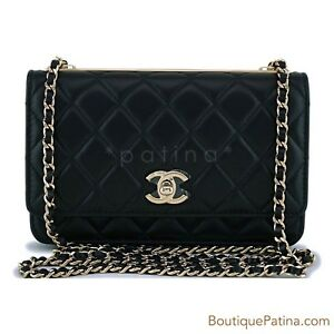 f1331b69a105 NIB Chanel Black Classic Trendy CC Wallet on Chain WOC Mini Flap Bag ...