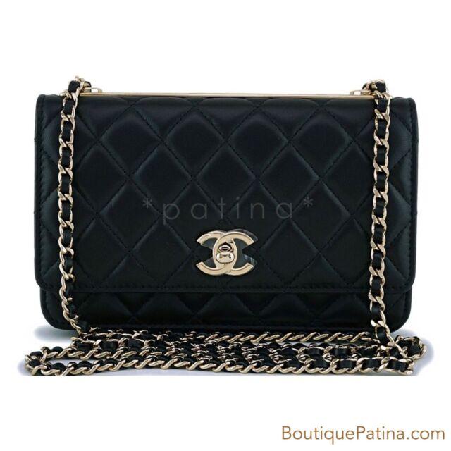 0be6ee86ce7868 NIB Chanel Black Classic Trendy CC Wallet on Chain WOC Mini Flap Bag GHW  63112