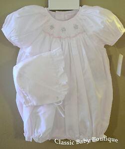 NWT-Petit-Ami-White-Smocked-2pc-Bubble-Romper-Preemie-Bonnet-Baby-Girls