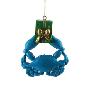 "BLUE CRAB w/GIFT RESIN 3"" COASTAL NAUTICAL CHRISTMAS ..."