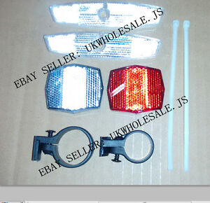 Reflector Set White Front And Red Rear Reflectors With Mounting Bracket 2Pc