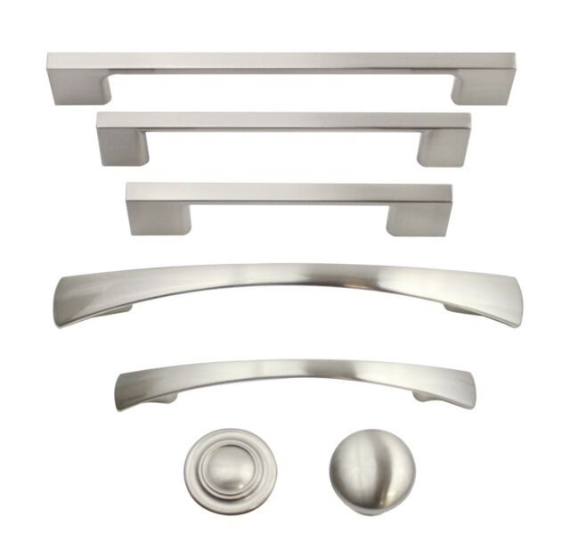 20 PACK NEW CURVED SATIN NICKEL KITCHEN CABINET DRAWER DOOR HARDWARE PULL HANDLE