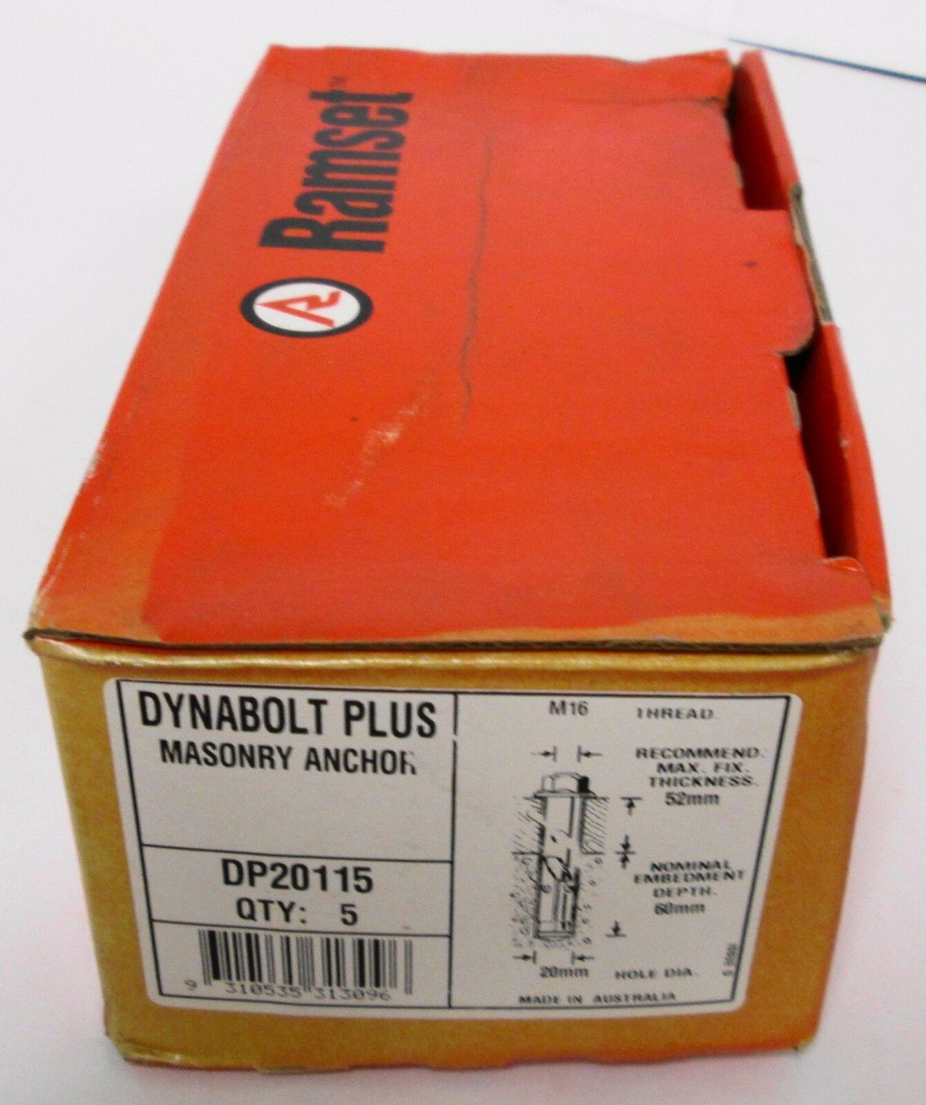 (5) RAMSET DP20115 Dynabolt Plus Masonry Anchor 20mm