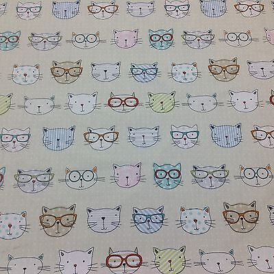 Woodland Natural Cat /& Mouse Print Cotton Fabric Curtain Upholstery Crafts