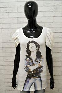 Maglia-ROCCOBAROCCO-Donna-Taglia-M-Maglietta-Shirt-Woman-Manica-Corta-Bianco