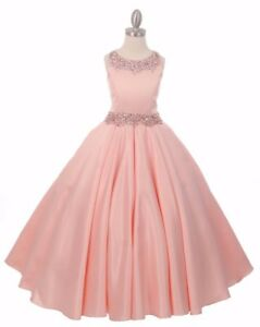 d08c495fb856 New Blush Satin Ball Gown Princess Flower Girls Dress Wedding Party ...