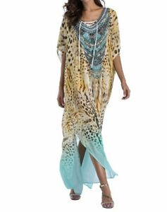 Plus-Size-Maxi-Dress-Long-Animal-Print-Sheer-Embellished-Kaftan-Size-16-18-20-22