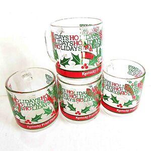 4-Clear-Glass-Libby-Kentucky-Fried-Chicken-KFC-VTG-Holiday-Coffee-Mugs-FREE-SH
