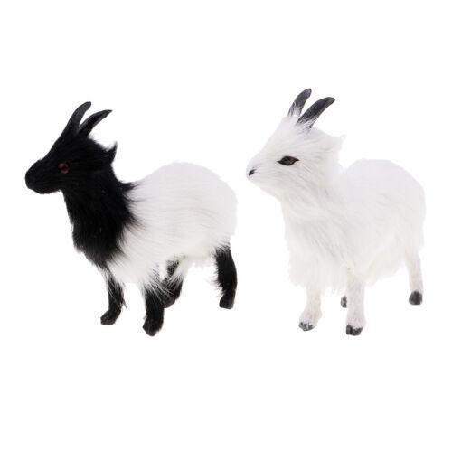 2 Stücke Mini Simulation Ziege Plüsch Figuren Plüschtiere Kuscheltier