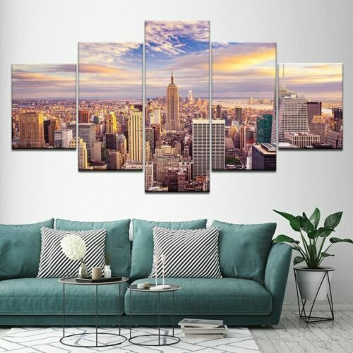 Great New York Painting Modern City Poster Wall Art Home Decor 5pcs canvas print