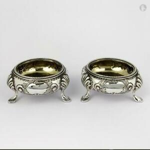 PAIR-VICTORIAN-STERLING-SILVER-Footed-SALT-CELLARS-Sheffield-1885-Martin-Hall