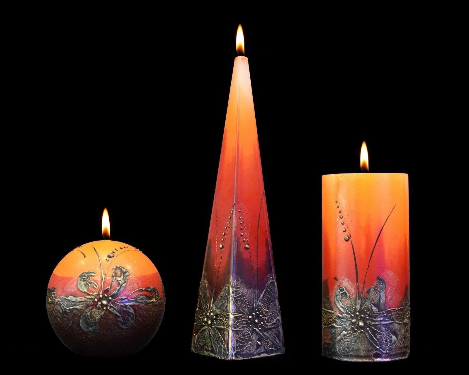 Hecho a mano y pintado a mano velas cálido abrazo Rojo Vela de Pilar Bola Regalo Votiva