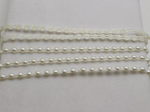 5 Meter//50 Meter Ivory Acrylic Flatback Pearl Bead 4mm Chain Garland Bouquet