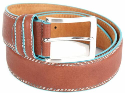 "Two Tone Tan Italian Leather 1.5/"" Jeans Belt with Turquoise Edging"