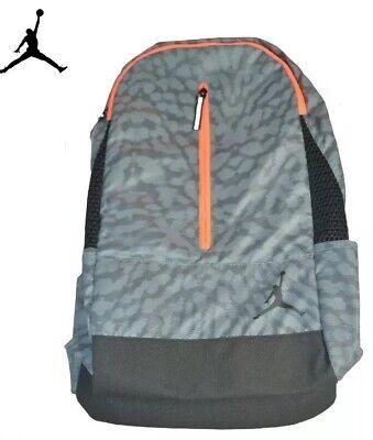 GRAY ORANGE NIKE AIR JORDAN JUMPMAN SCHOOL BACKPACK LAPTOP BOOK BAG 9A1776-146