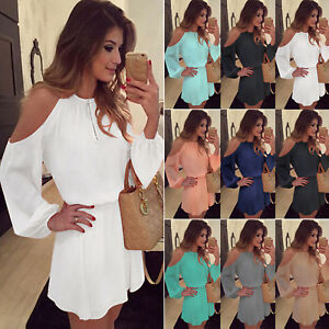 AU-Womens-Cold-Off-Shoulder-Chiffon-Hollow-Out-Long-Sleeve-Club-Party-Mini-Dress