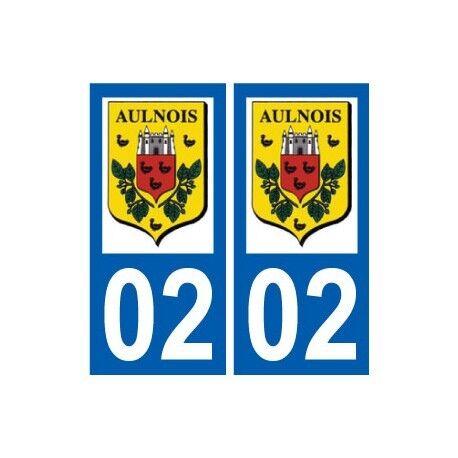 02 Aulnois-sous-laon Logo Ville Autocollant Plaque Sticker - Angles : Droits Verlichten Van Reuma En Verkoudheid
