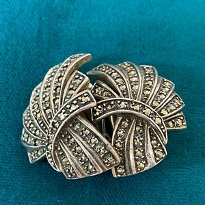 Tiny Marcasite Clip On Earrings Silver Tone Metal Vintage