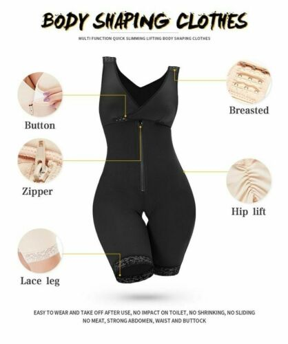 Women Slimming Shaper Plus Size Bodysuits Full Body Shapewear Sheath Open Crotch