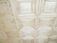 Faux tin ceiling tile TD05 Antique White glue up / drop in-50 tiles ~ 200 sq.ft.