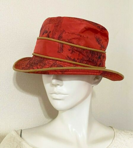 HERMES Unisex Reversible Bucket Hat Slouch Red Or… - image 1
