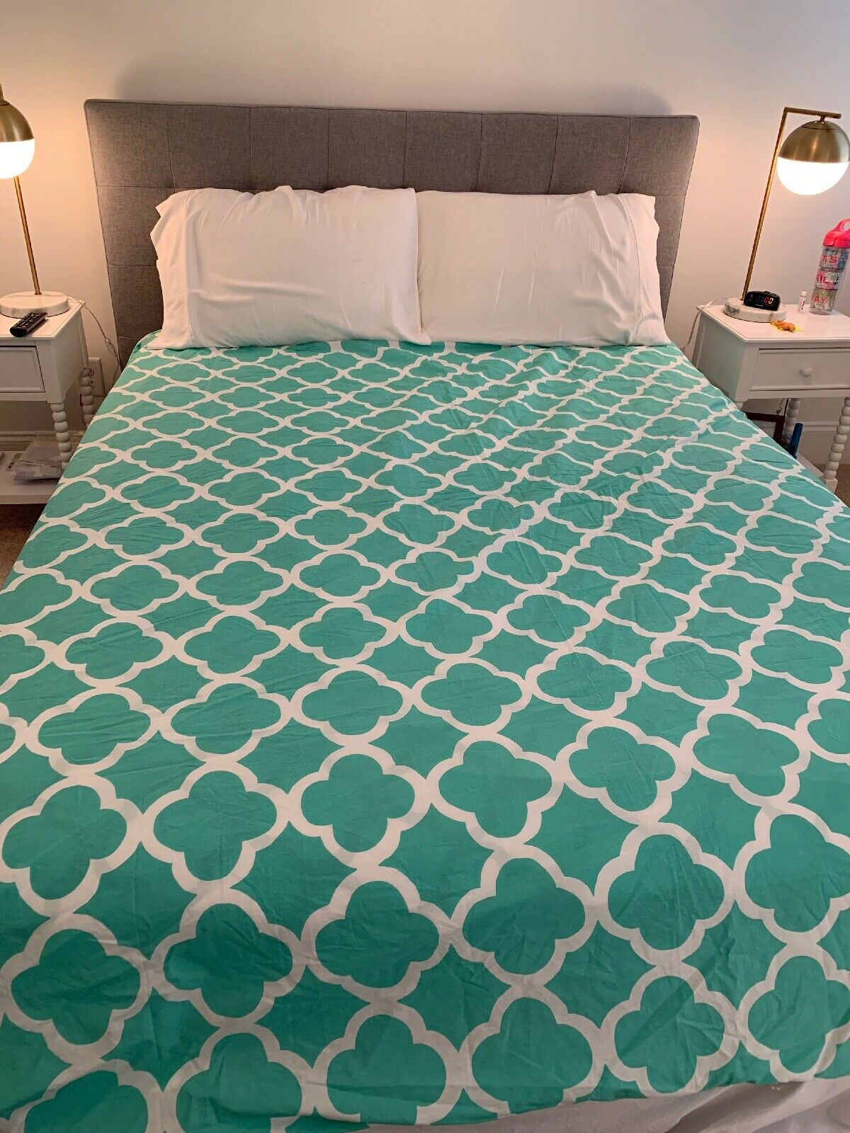 Duvet cover queen pottery barn white and teal and can be reversed