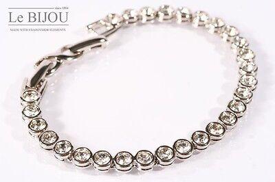 Le BIJOU Farbe Silber rhodiniert Tennis Armband mit Kristallen 19-21,5 cm NEU