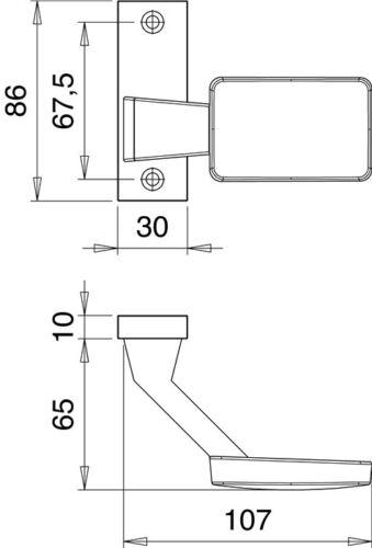 Türknopf Schild gekröpft 1386//0000 Alu F1 Einschweiss Metall Schlosskasten AMF