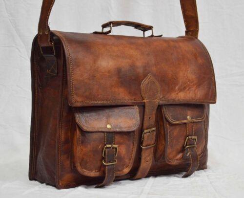 vintage leather messenger Real brown laptop satchel bag genuine briefcase art