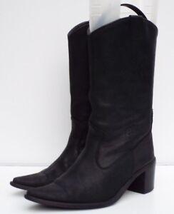 Pull Calf Western 38 Mid Leather 5 On Black Waxed Blox Boots Cuban Heel Pwa0Xq